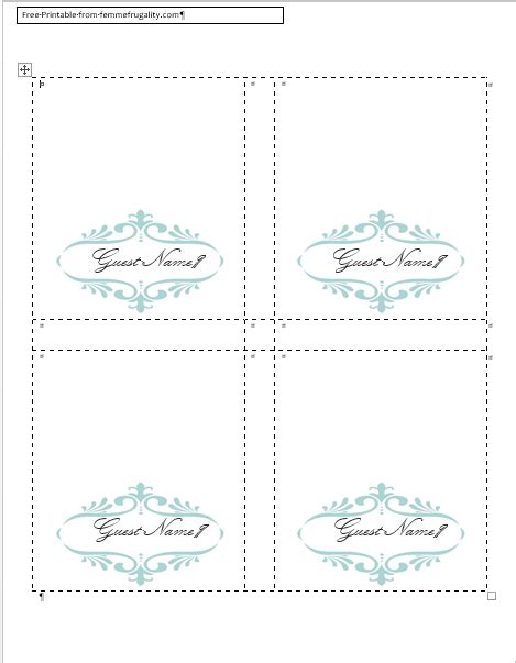 Place Cards Free Printable Templates by Template For Place Cards Search Engine At