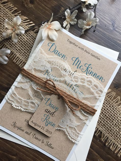 rustic wedding invitation vintage wedding invitation