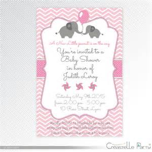 pink elephant baby shower printable invitation