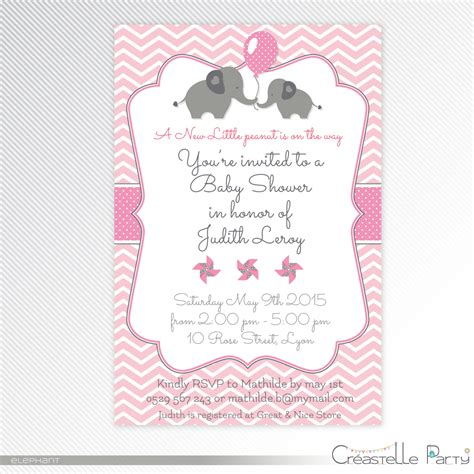 printable elephant invitations pink elephant baby shower printable invitation