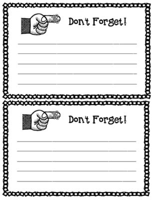 parent communication reminder note printable form lined
