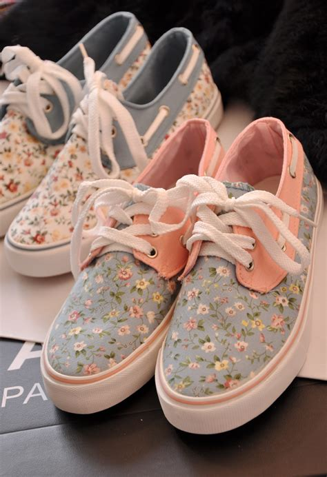pink flower shoes sweet floral canvas boat shoes sneaker flats on storenvy