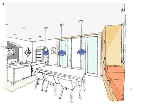 Sketch Of Dining Room by Las Palmas Ave