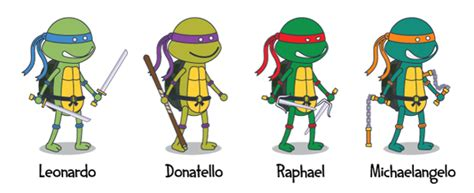 tmnt names and colors what are the names of the mutant turtles