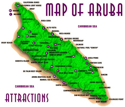 printable road map of aruba attractions map of aruba aruba attractions map vidiani