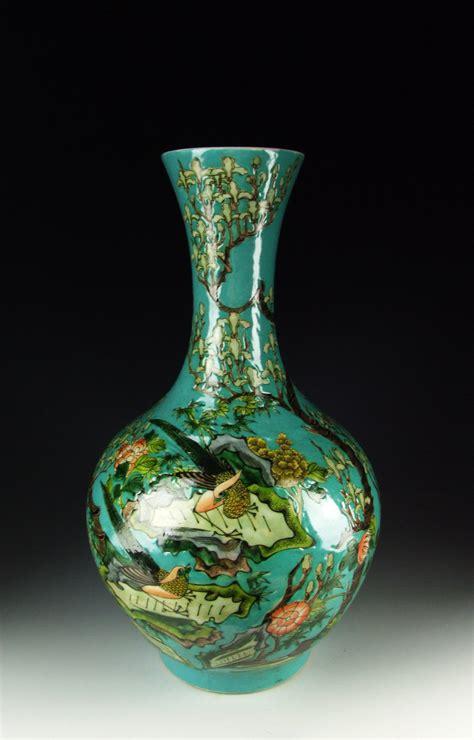Antique Blue Vase Chinese Antique Blue Glazed Porcelain Vase With Flower