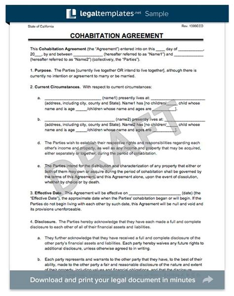 cohabitation contract template cohabitation agreement templates