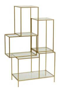 Ceramic Wall Planters Rack With Glass Shelves Metal Gold Nordal Eu