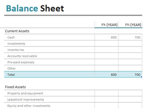 Balance Sheet Simple Balance Sheet Template