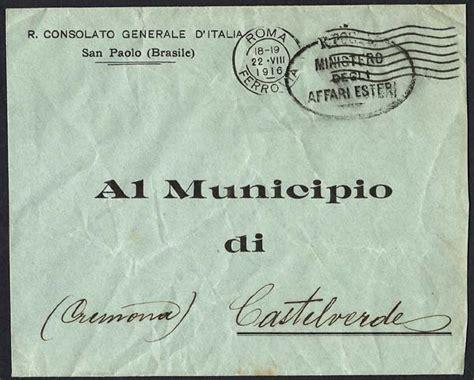consolato generale brasile a roma storia postale italiana