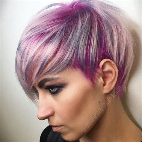shag haircut brown hair with lavender grey streaks blonde red brown ombre ed and highlighted pixie cuts