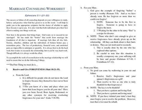 Relationship Conflict Resolution Worksheets by Worksheets Premarital Counseling Worksheets Opossumsoft