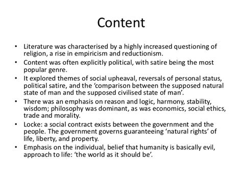 themes in neoclassical literature the neoclassical period the age of enlightenment