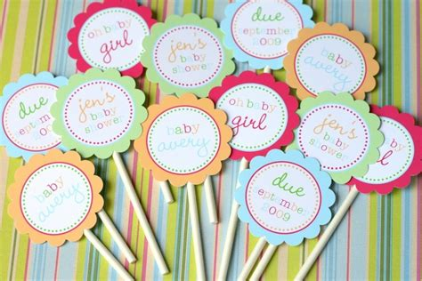 printable bright baby cupcake toppers for baby by tomkatstudio - Diy Baby Shower Cupcake Toppers