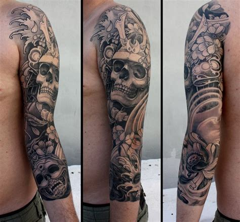 skull sleeve tattoos lotus skull japanese sleeve best ideas gallery