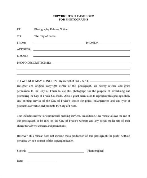 photography copyright release form printable sle