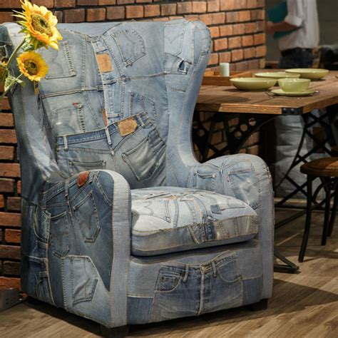 denim wingback armchair temple webster