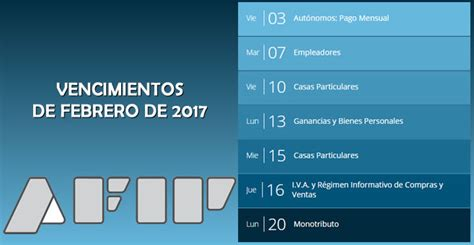 afip prorrog vencimiento para las presentaciones de cronograma de vencimientos de afip en febrero de 2017