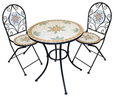 Indoor Bistro Table And 2 Chairs Mosaic Bistro Set With Two Chairs Indoor Pub And Bistro Sets By Alpine Corporation