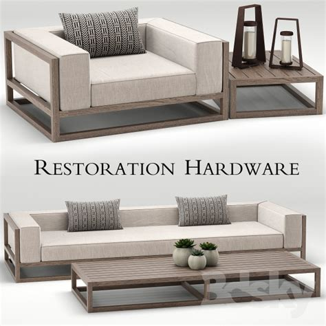 3d Models Sofa Restoration Hardware Aviara Teak Sofa Restoration Hardware Teak Outdoor Furniture