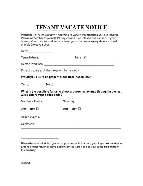 30 day notice to vacate template days notice template day move out