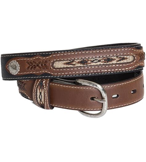 nocona kid s fabric inset belt black brown
