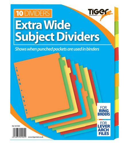 binder section dividers offer tiger stationery ring binder folder section