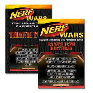 nerf wars invitation thank you card by solarflairboutique