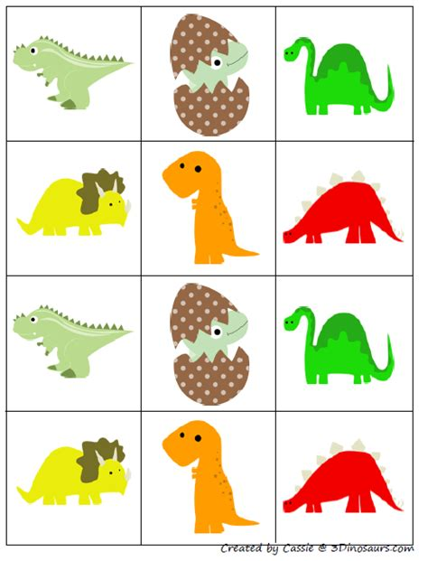concentration card template free for dinosaur matching pairs concentration