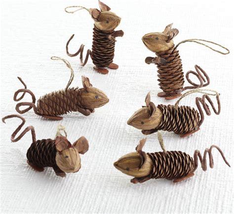 mice decorations winter pinecone friends mice eclectic