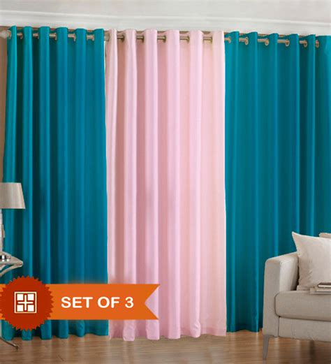 Baby Pink Curtains Pindia Aqua N Baby Pink Door Curtains Set Of 3 Pcs 7 Ft By Pindia Solids