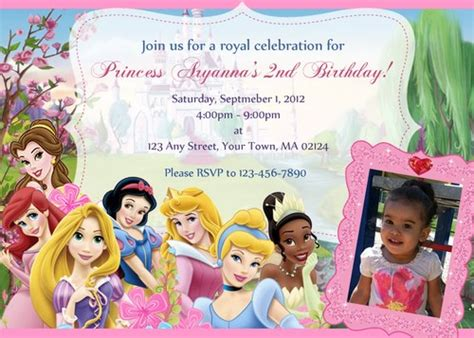 disney princess birthday invitations custom disney princesses personalized invitation digital file