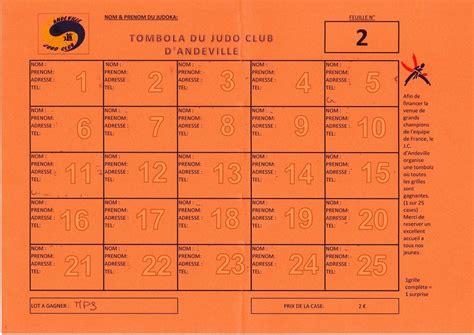 Grille De Tombola by Tombola Du Judo Club D Andeville Judo Club Andeville