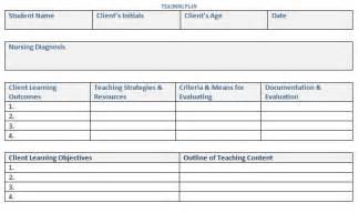 general teaching plan template sample