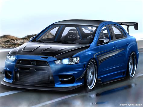 Download mitsubishi lancer evo x blue hd wallpaper by aykutdesign full