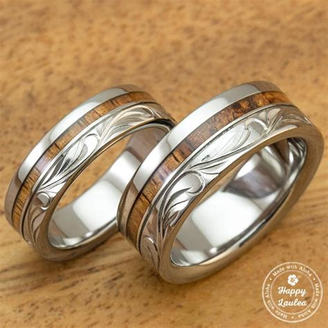 wood inlay wedding band titanium wedding band set with hawaiian koa wood inlay engraved with hawaiian heritage