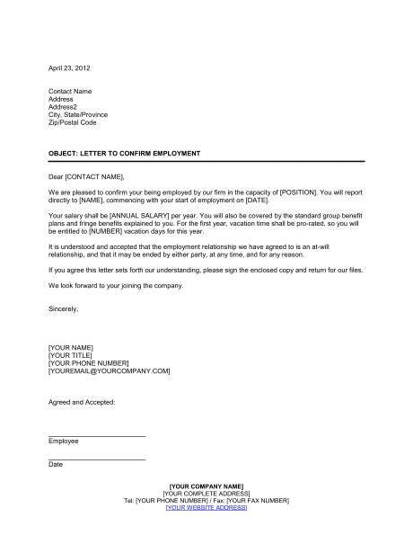 letter confirming employment template sample form