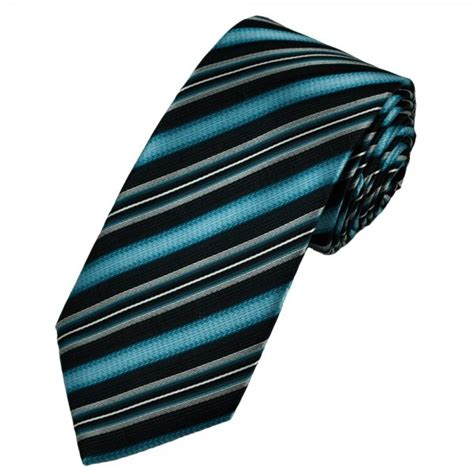 blue black silver striped patterned s silk tie from