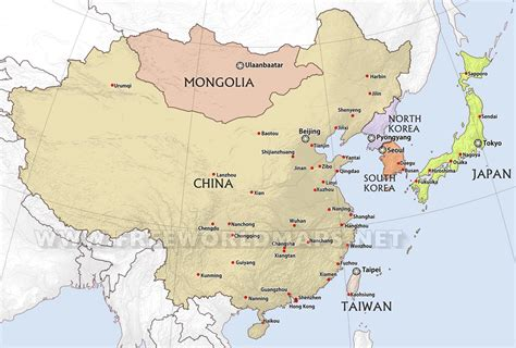 map of asia countries and cities east asia maps