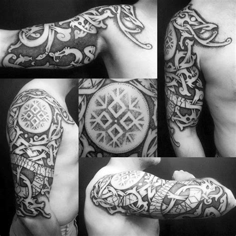 norse tribal tattoo 70 viking tattoos for germanic norse seafarer designs