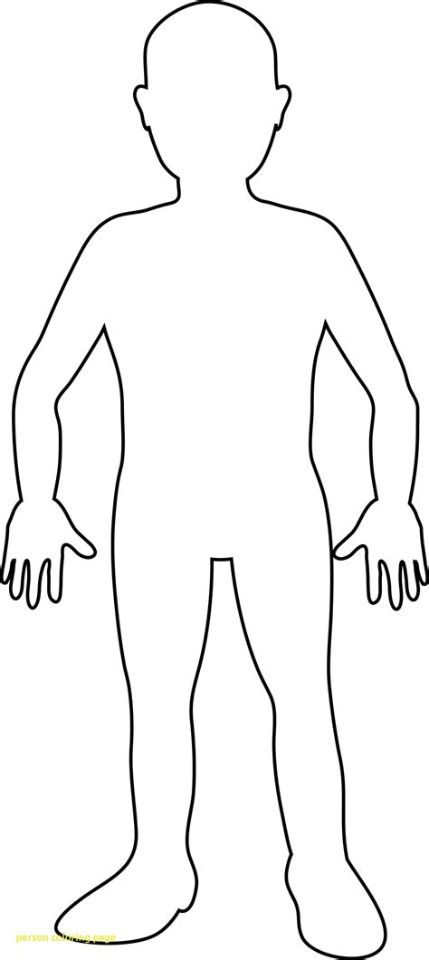 Coloring Page Human by Person Coloring Page With Human Outline For And