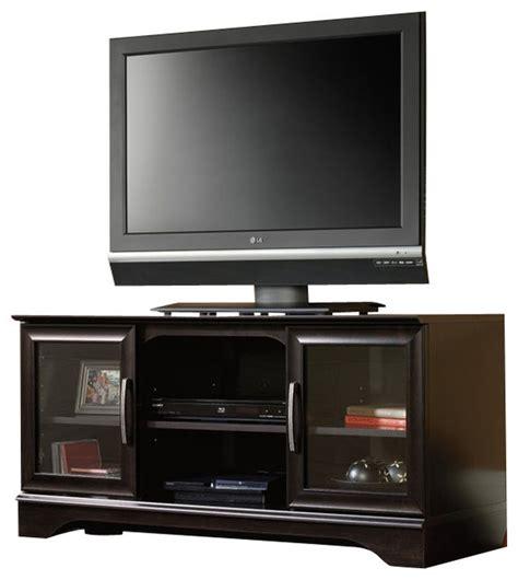 Sauder Kitchen Furniture sauder panel tv stand with post mount in estate black