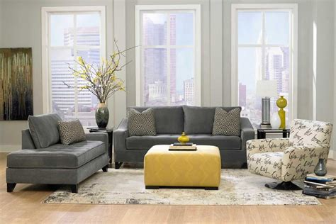 living room foxy image of yellow and grey living room decoration with square yellow leather