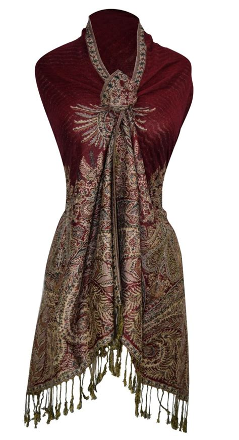 Alessa Collection Pashmina Soft Colour Maroon Pashmina Vintage Scarf