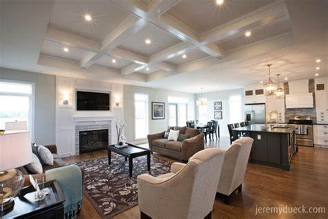 classic great room  coffered ceiling