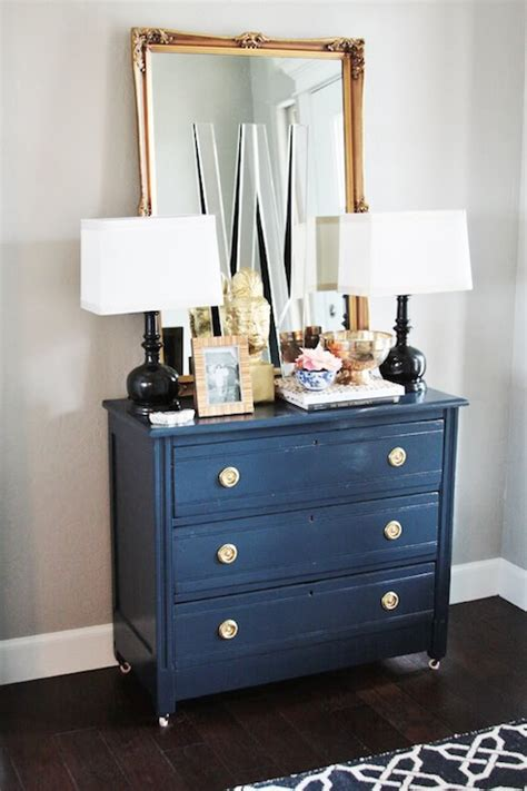blue dresser gold hardware painted accent chest eclectic living room sherwin