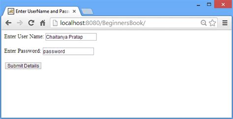 Request Letter User Id Password Request Implicit Object In Jsp With Exles