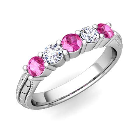 milgrain pink sapphire wedding band in 18k gold 5