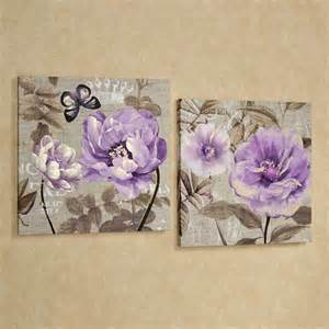Floral Wall Decor by Floral Delight Purple Flower Canvas Wall Set