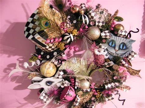 the mad hatter wreath all handmade created by me and handpainted ornaments vintage mirror quot we